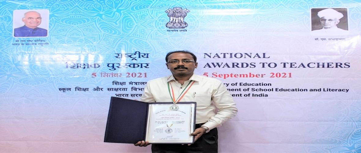 KVS takes pride in congratulating Shri Faisal S L TGT (Librarian) KV Pattom on receiving the National Award for Teachers on 5th September 2021.