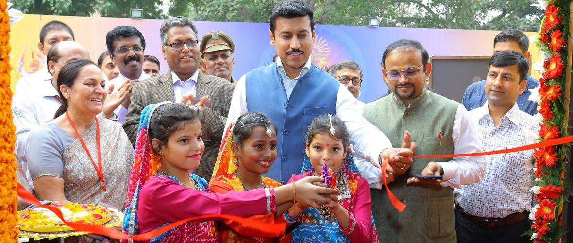 Union Minister of State for Sports & Youth Affairs and Information & Broadcasting Ministry Col Rajyavardhan Singh Rathore inaugurates KVS Rashtriya Ekta Shivir-EK Bharat Shreshth Bharat 2018