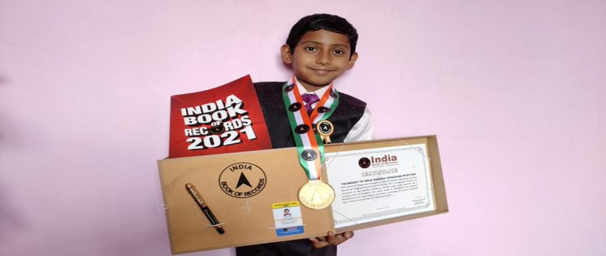Pragyat Prasun of class IV A KV ONGC Agartala has brought laurels to vidyalaya as well as tripura state by getting his name in to India book of records for Yoga Asan.